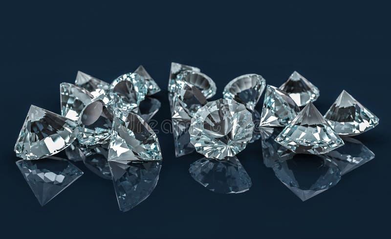 Vele diamanten op weerspiegelend bureau royalty-vrije illustratie