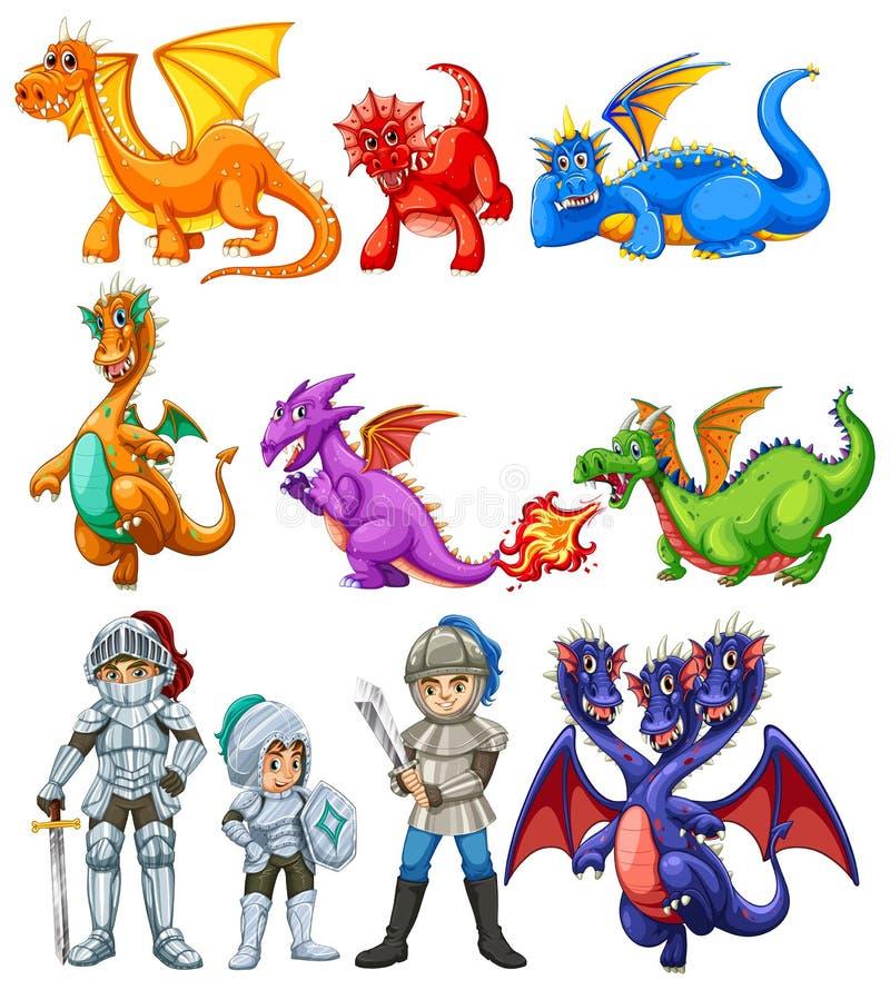 Vele draken en ridders op witte achtergrond stock illustratie