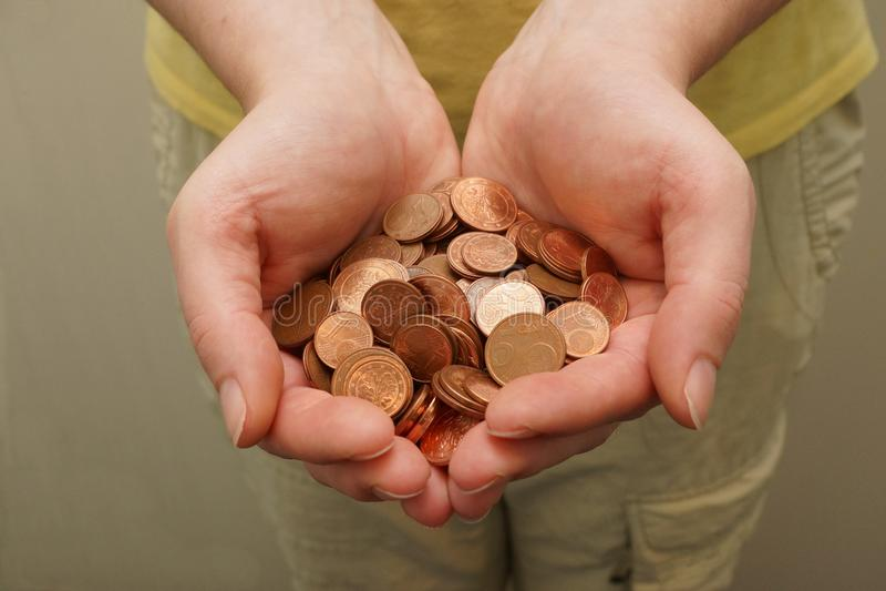 Vele Euro centmuntstukken royalty-vrije stock foto