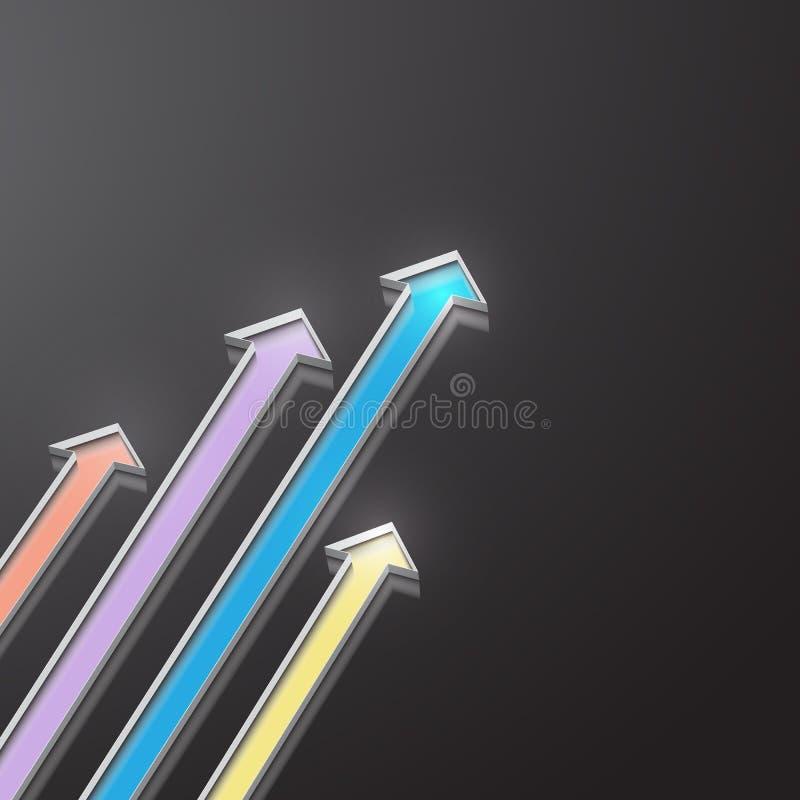 Vele gekleurde pijlen die indirections richten royalty-vrije illustratie