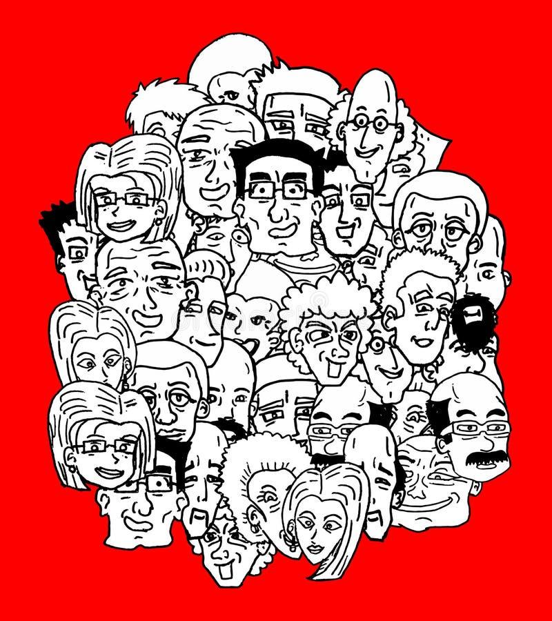 Vele gezichten royalty-vrije illustratie