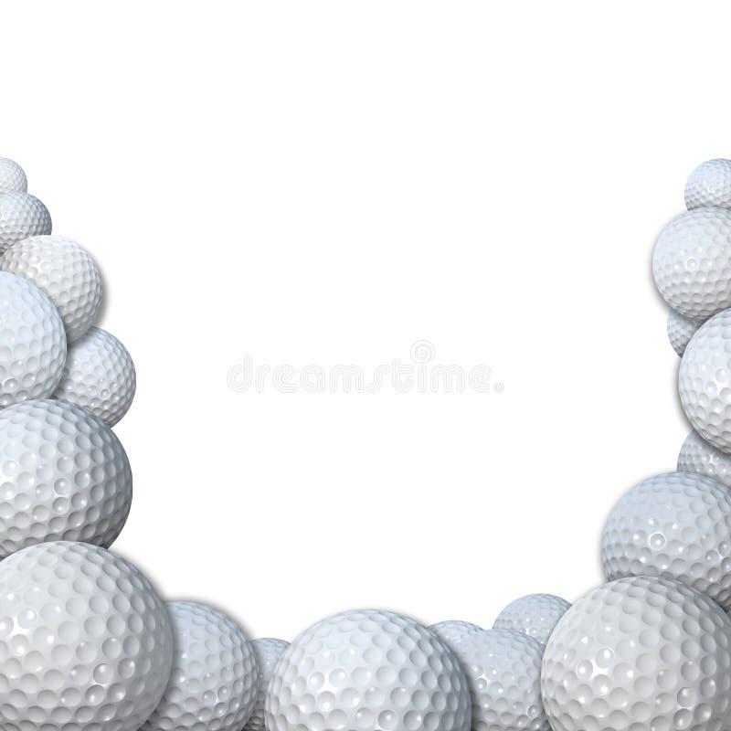 Vele Golfballs als het exemplaarruimte van de Grens van de Sporten van het Golf stock illustratie
