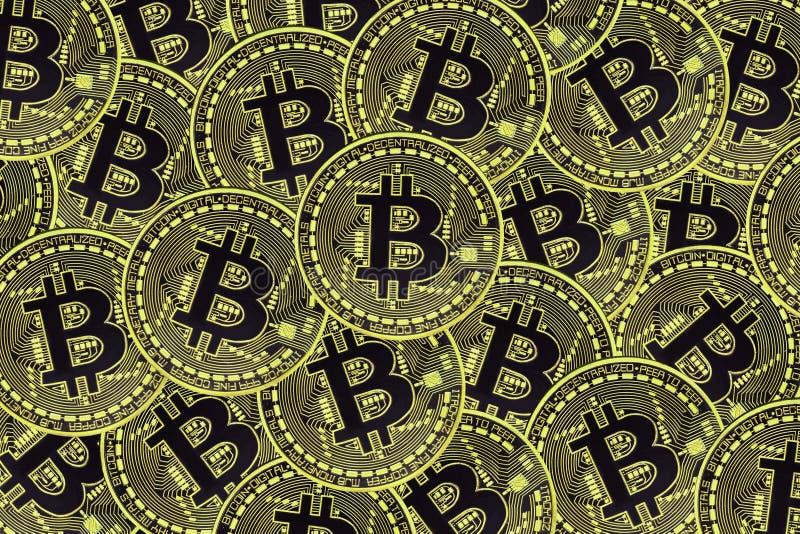 Vele gouden muntstukken met Bitcoin-teken, het is een cryptocurrencyachtergrond royalty-vrije illustratie
