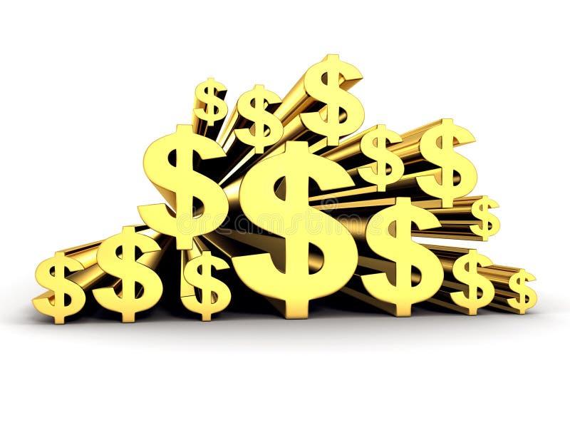 Vele Gouden Symbolen van de Dollarmunt royalty-vrije stock foto
