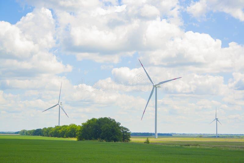 Vele grote en hoge windmolens bij zonnige dag op het groene gebied Alternatieve energiegenerators Windmolens bij zonsopgang Ecolo royalty-vrije stock afbeeldingen