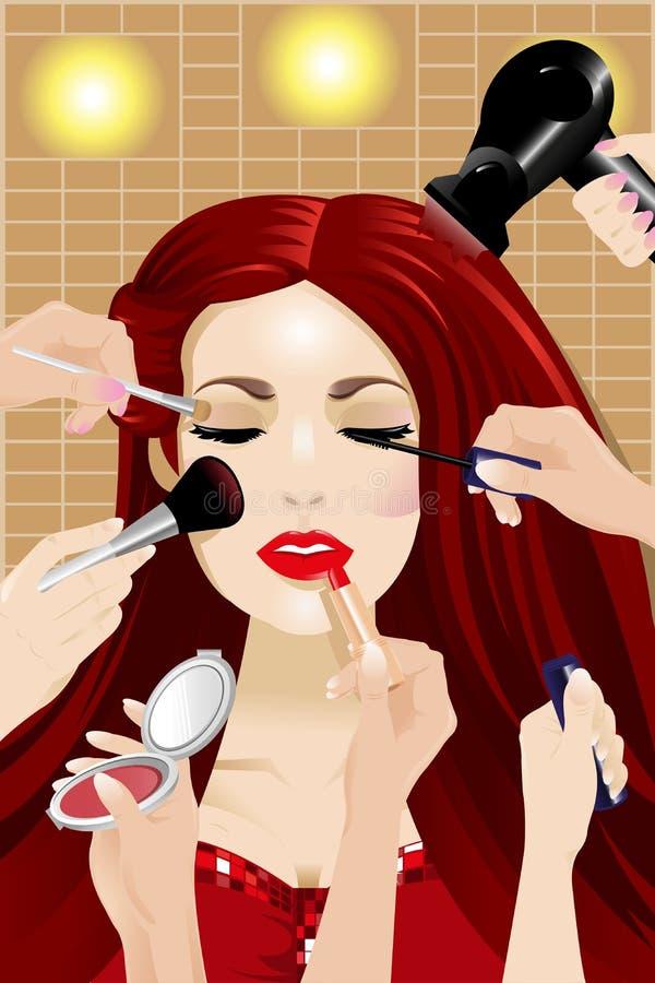 Vele handen die make-up op een vrouwenhoofd toepassen stock illustratie
