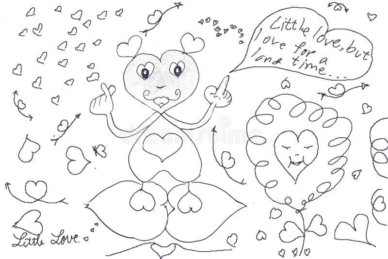 Vele hart-vormige beeldverhaalkarakters en kleine harten komen om liefde te vertellen royalty-vrije illustratie