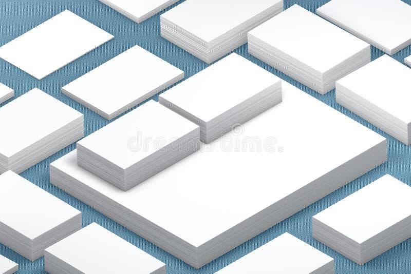 Vele kaartenstapel van document malplaatje aan presentatie vector illustratie