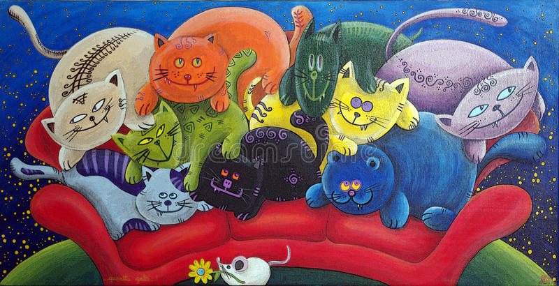 Vele Katten voor Één Muis royalty-vrije stock fotografie