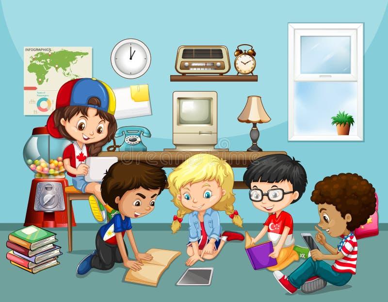Vele kinderen die in klaslokaal werken vector illustratie