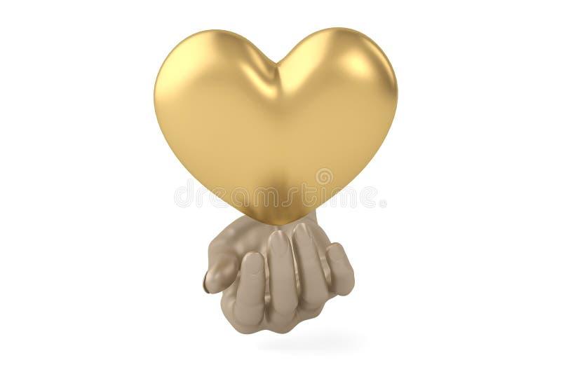 Vele kleine muntstukken komen uit een groot gouden muntstuk 3D Illustratie stock illustratie