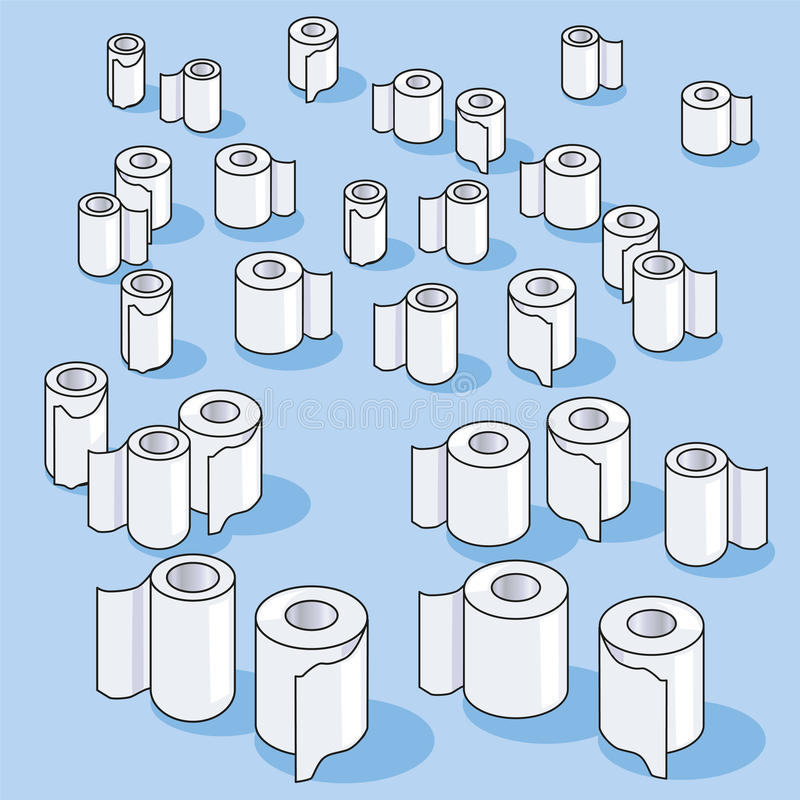 Vele kleine toiletpapierbroodjes en document vector illustratie