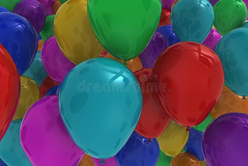 Vele kleurrijke ballons vector illustratie