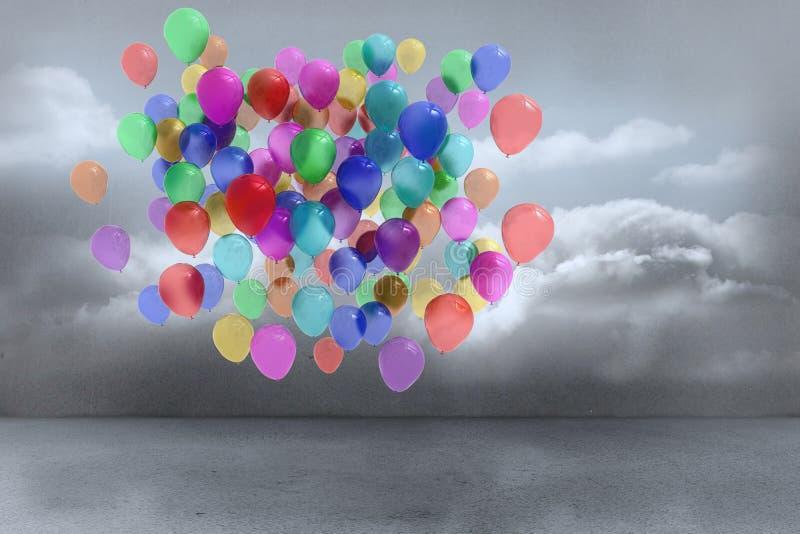 Vele kleurrijke ballons stock illustratie
