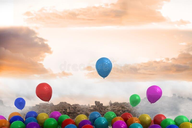 Vele kleurrijke ballons boven landschap royalty-vrije illustratie