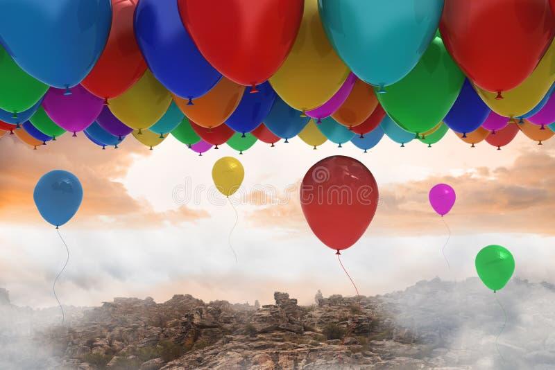Vele kleurrijke ballons boven landschap stock illustratie