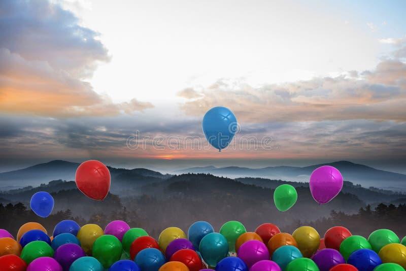 Vele kleurrijke ballons boven landschap vector illustratie