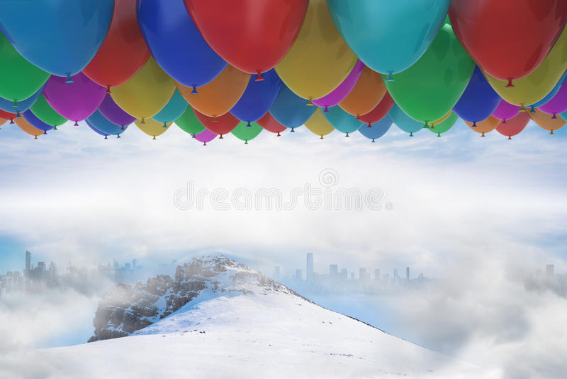 Vele kleurrijke ballons boven sneeuw vector illustratie