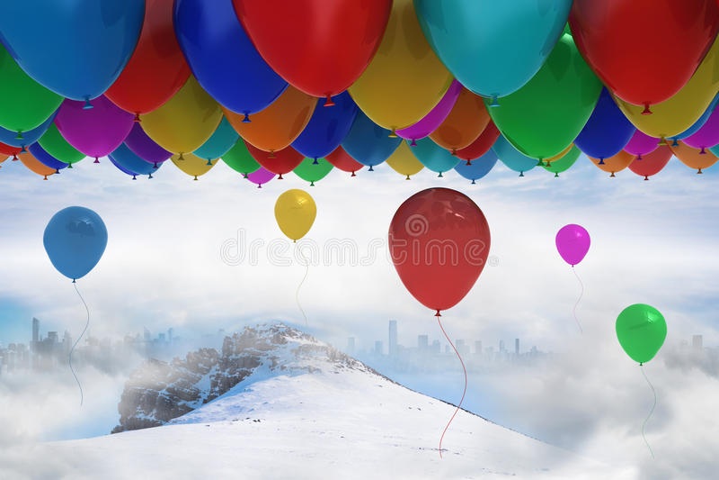 Vele kleurrijke ballons boven sneeuw royalty-vrije illustratie