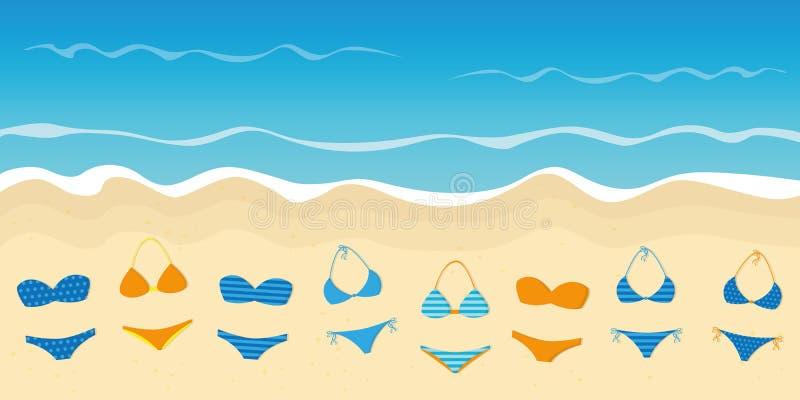Vele kleurrijke bikinis op de de vakantieachtergrond van de strandzomer royalty-vrije illustratie
