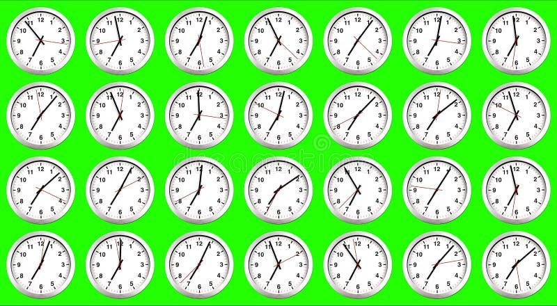 Vele klokken, tijd om voor ontbijt, moderne witte metalli te ontwaken stock illustratie