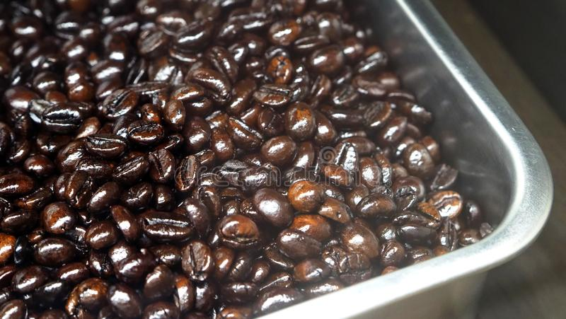 Vele koffiebonen uit uitstekende bron royalty-vrije stock foto's