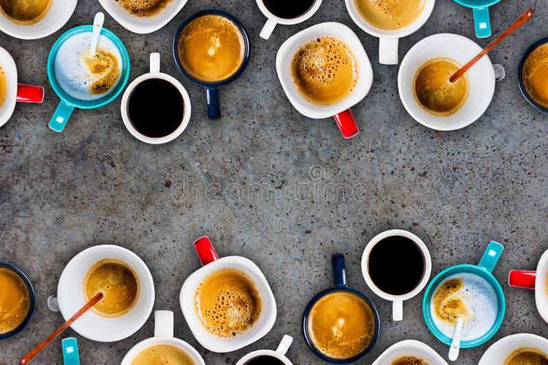 Vele Koppen van koffie royalty-vrije stock fotografie