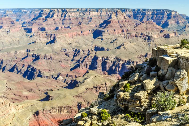 Vele Lagen van Afzettingsgesteente leiden tot een Mooie Scène in Grand Canyon van Arizona royalty-vrije stock foto's