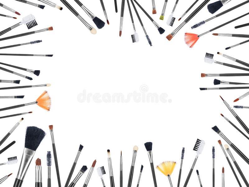 Vele make-upborstels van verschillende grootte royalty-vrije stock foto