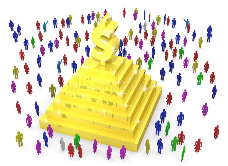 Vele mensen bevinden zich rond gouden piramide met dollarteken royalty-vrije illustratie