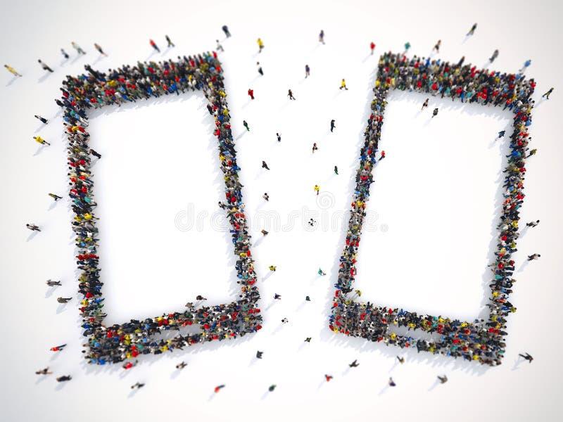 Vele mensen samen in een slimme telefoonvorm het 3d teruggeven stock illustratie