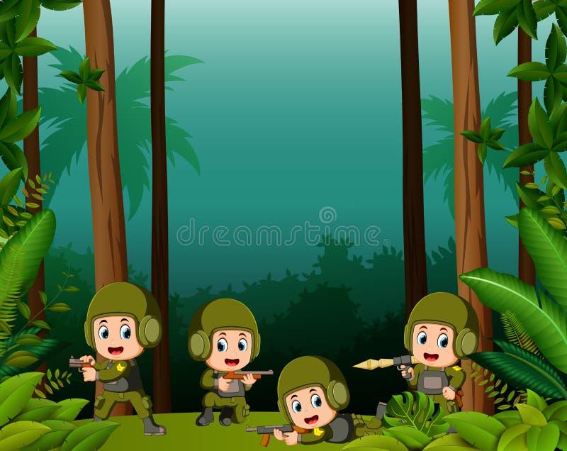 Vele militairen in een wildernis stock illustratie