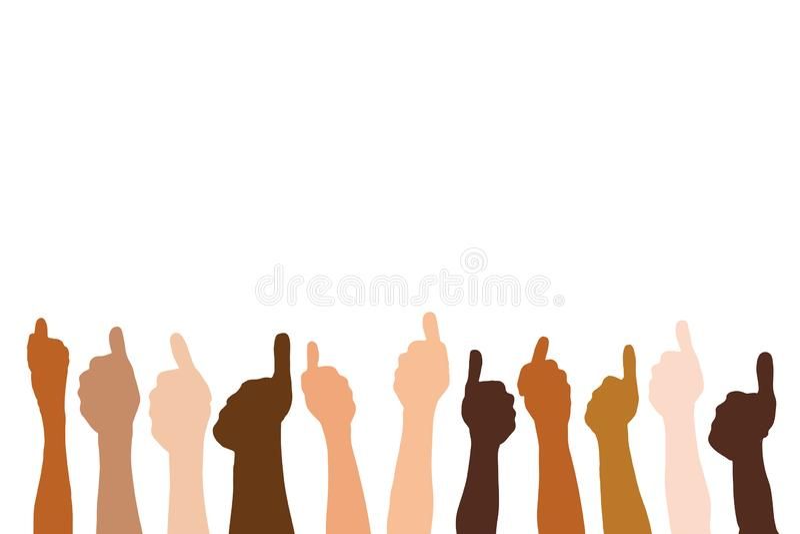 Vele multiculturele handen tonen duimen stock illustratie