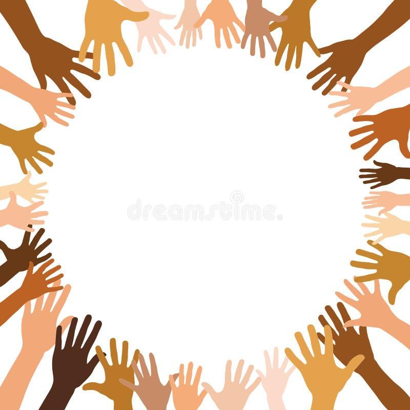 Vele multiculturele handen vormen een cirkel stock illustratie