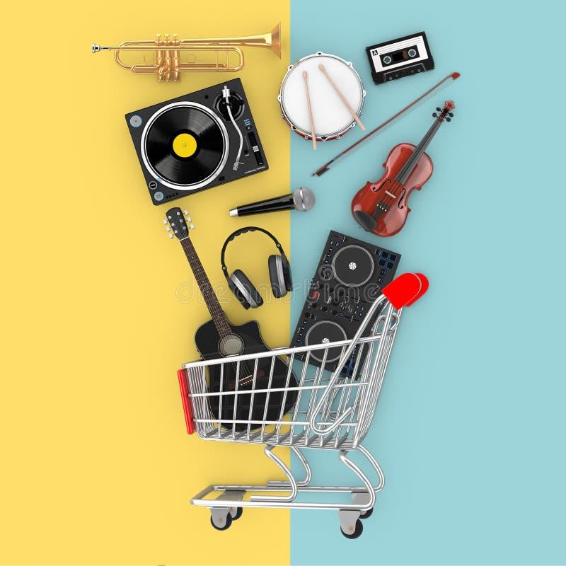 Vele Muzikale Instrumenten die in Boodschappenwagentje vallen het 3d teruggeven stock illustratie