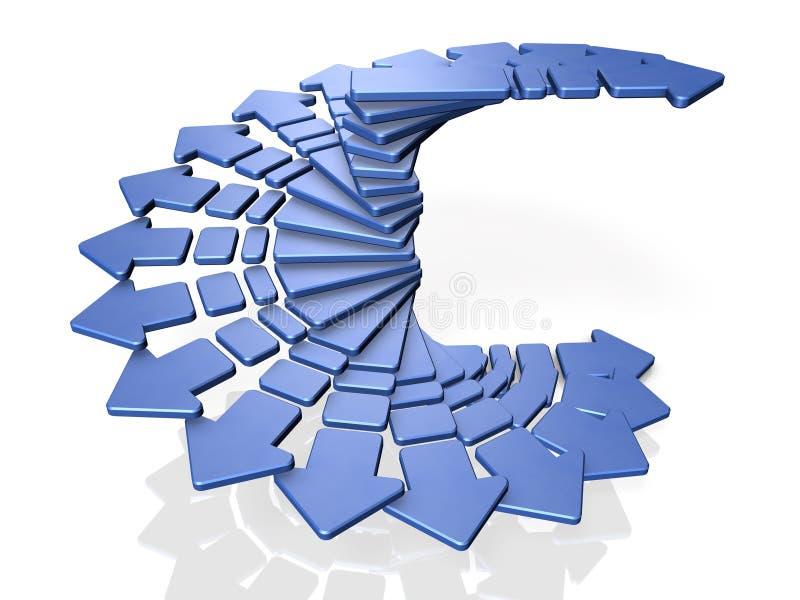 Vele pijlen nemen terwijl het roteren in een spiraalvormige vorm toe vector illustratie