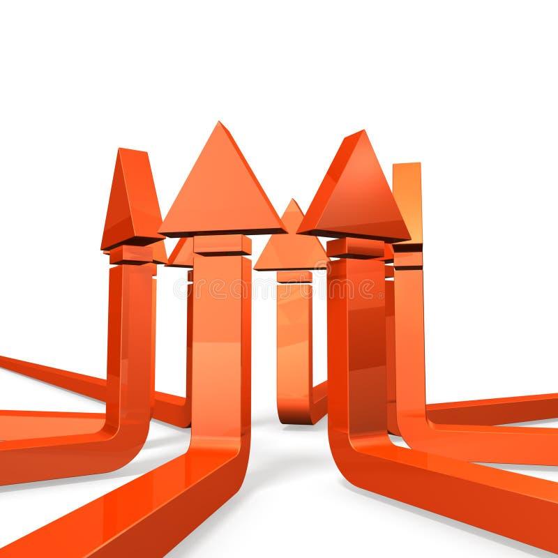 Vele pijlen vertegenwoordigen de eenheid. royalty-vrije illustratie