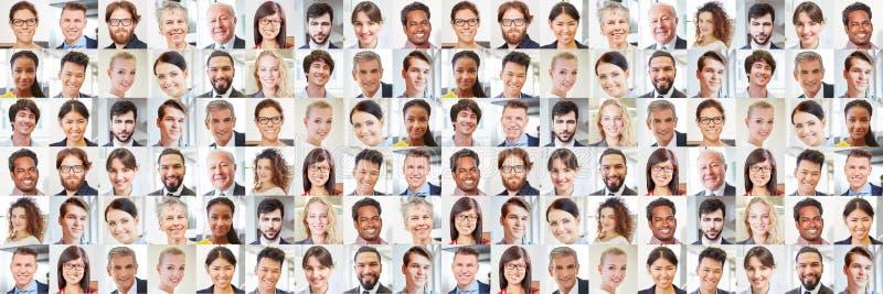 Vele portretten van bedrijfsmensen als internationaal team stock fotografie