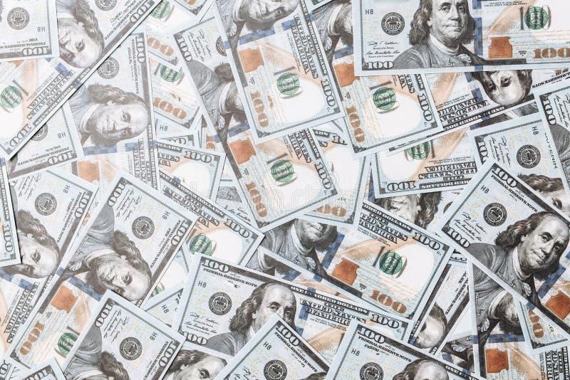 Vele rekeningen van 100 dollars, Amerikaans bankbiljet, achtergrond van geld, het close-up van de contant geldmunt, het Voorzitte royalty-vrije stock fotografie