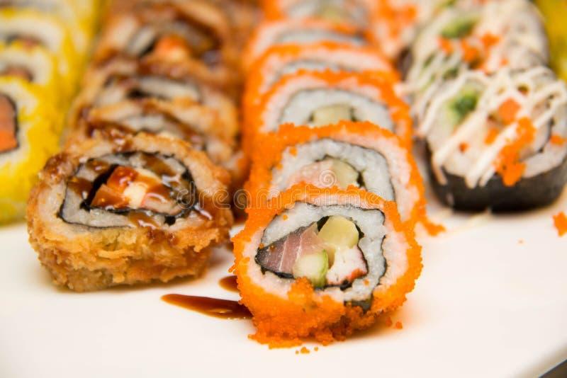 Vele stukkenpb Sushi in markt royalty-vrije stock foto's