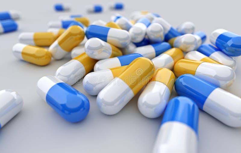 Vele tabletten, pillen en pillencapsules op witte achtergrond royalty-vrije illustratie
