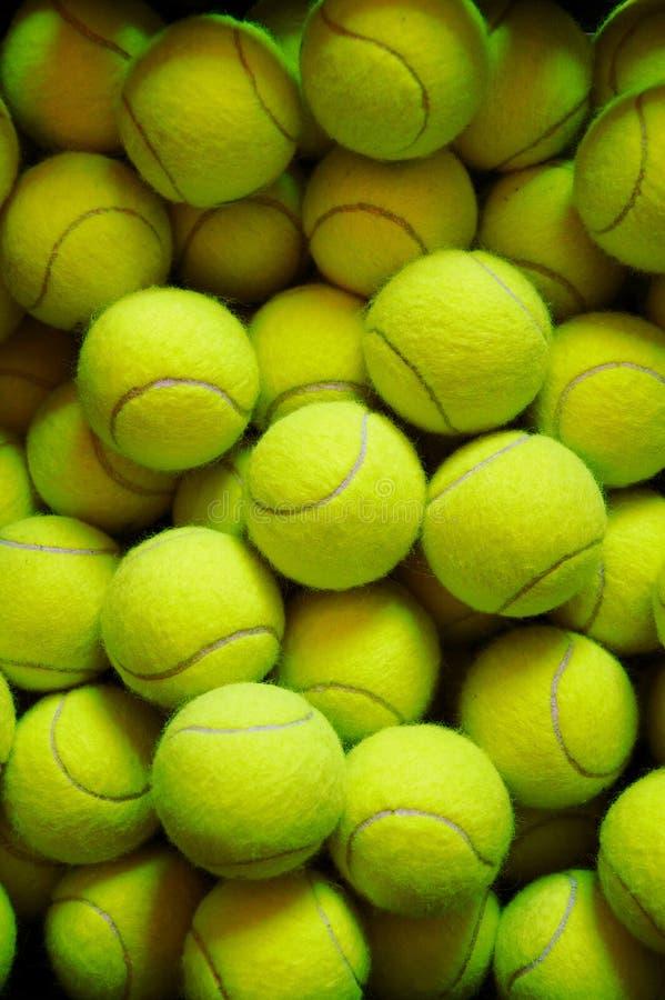 Vele tennisballen royalty-vrije stock afbeelding