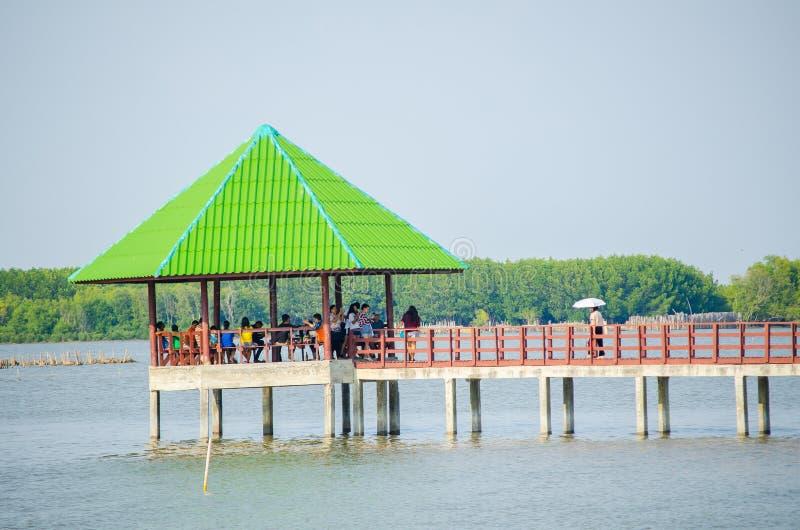 Vele toeristen heeft het rusten bij groen dakpaviljoen in water dichtbij mangrovebos royalty-vrije stock foto