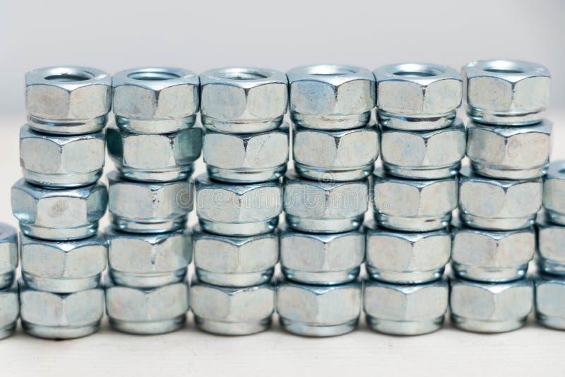Vele veelvoudige de boutbouten van het chroom roestvrije metaal stock afbeelding