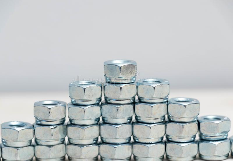 Vele veelvoudige de boutbouten van het chroom roestvrije metaal stock foto's