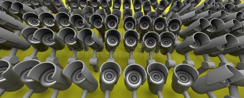 Vele veiligheidscamera's op de stad, grote broer die op u letten De camera van toezichtkabeltelevisie het 3d teruggeven vector illustratie