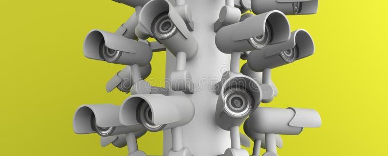 Vele veiligheidscamera's op de stadspijler, grote broer die op u letten De camera van toezichtkabeltelevisie het 3d teruggeven royalty-vrije illustratie