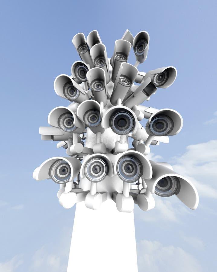 Vele veiligheidscamera's op de stadspijler, grote broer die op u letten De camera van toezichtkabeltelevisie het 3d teruggeven stock illustratie