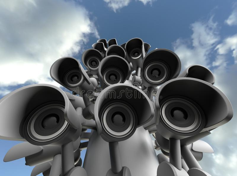 Vele veiligheidscamera's op de stadspijler, grote broer die op u letten De camera van toezichtkabeltelevisie het 3d teruggeven vector illustratie