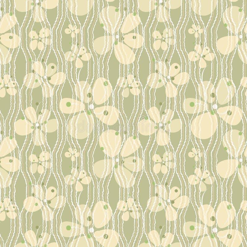 Vele verschillende de kleurenboterbloem van de groottepistache bloeit, witte en beige golvende lijnen op lichtgroene achtergrond royalty-vrije illustratie